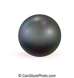 perle, arrière-plan., réaliste, isolé, noir, blanc