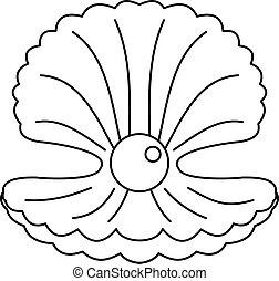 perle, coquille, contour, icône