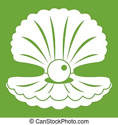 perle, coquille, vert, icône
