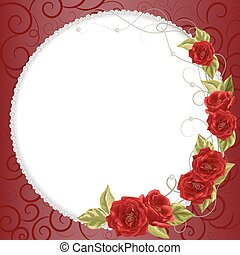 perle, cornice, delicato, rose
