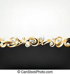 perle, cornice, gioielleria, oro