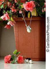 perle, details., pendente, matrimonio, orecchini, argento