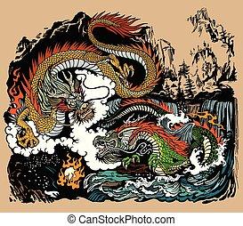 perle, dragons, encicling, deux