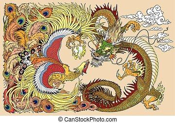 perle, jouer, phénix, dragon chinois
