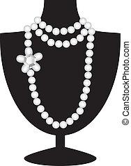 perle náhrdelník, dále, čerň, manekýnka