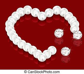 perle, perles, vecteur, jour, valentin