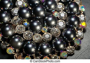 perle, rond, noir, broche