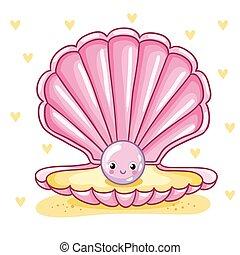 perle, shell., mer