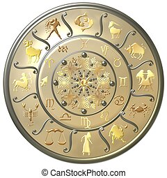 perle, tierkreis, scheibe, mit, zeichen & schilder, und, symbole