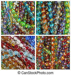 perle, verre, collage, coloré