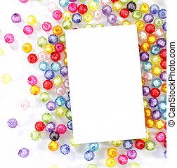 perlen, bunte, papier, hintergrund, weißes, leerer