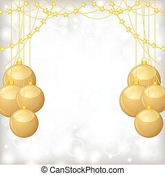 perlen, kugeln, girlande, gold, hintergrund, weihnachten