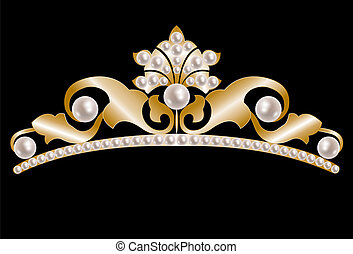 perlen, tiara, gold