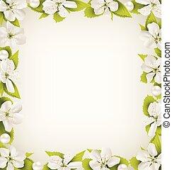 perles, aimer, cerise, cadre, perle, beige, fleurs