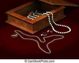 perles, cercueil, chaîne, perles, ornement, brilliants, anneau