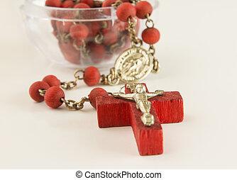 perles, chaîne, couleur,  crucifix, fond,  lignt, rouges