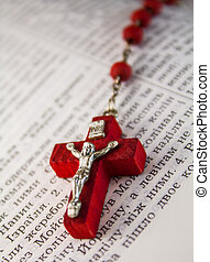 perles,  chaine,  bible's,  crucifix,  page, rouges