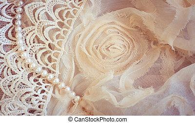 perles, dentelle, fond, chiffon, vendange