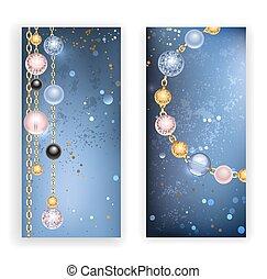 perles, deux, bannières