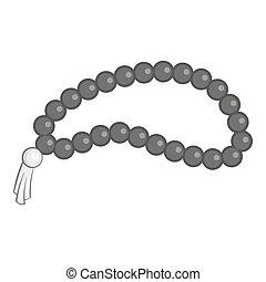 perles, icône, gris, monochrome, style