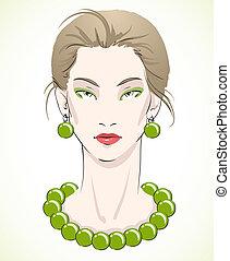 perles, jeune, élégant, vert, portrait, modèle