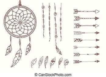 perles, preneur, plumes, flèches, main, américain, dessiné, ...