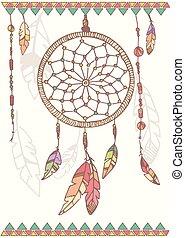 perles, preneur, plumes, main, américain, dessiné, rêve, ...