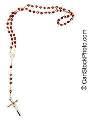 perles, rosaire, blanc, isolé