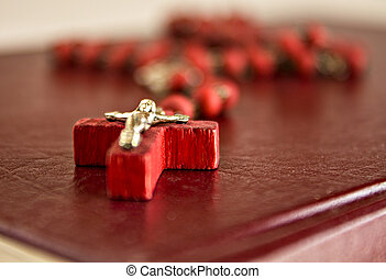 perles, rouges,  bibl, chaîne,  crucifix