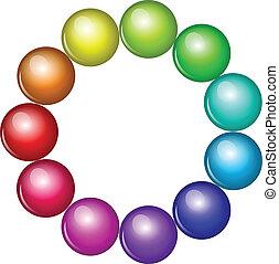 perles, vecteur, coloré