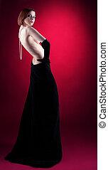 perline, donna, nudo, stile, retro, ritratto, fata
