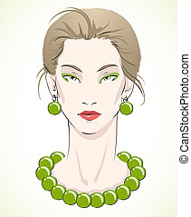 perline, giovane, elegante, verde, ritratto, modello