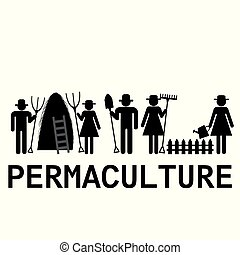 Permaculture concept with farmers using agricultural tools