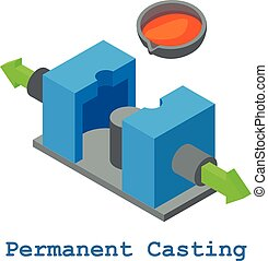 Permanent casting metalwork icon, isometric 3d style