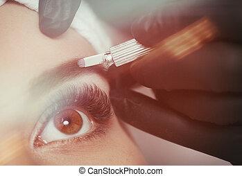 Permanent makeup eyebrows. Mikrobleyding eyebrows workflow...