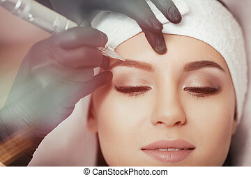 Permanent makeup. Tattooing of eyebrows - Permanent makeup....