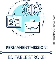 Permanent mission concept icon. International organisation ...