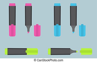 Permanent text highlight marker in three different colors: pink, blue, green. Office stationery.