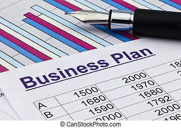 permanent, upprättande, plan, affär