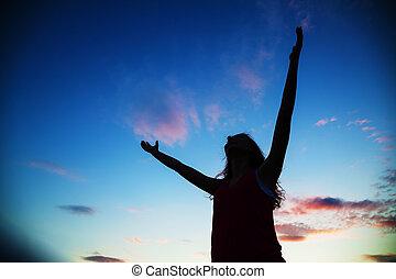 permanenza, donna, mani elevate