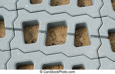 permeable, ペーバー, grid), (lawn, コンクリート, 構造, 補強された