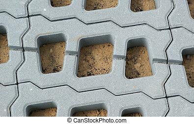 permeable, pflasterer, grid), (lawn, beton, strukturen,...