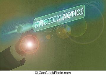 permesso, foto, testo, notice., esposizione, property., qualcuno, concettuale, segno, avanzamento, sfratto, avviso, dovere