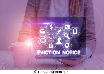permesso, property., testo, notice., qualcuno, concetto, avanzamento, sfratto, significato, avviso, dovere, scrittura