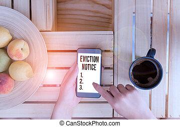 permesso, scrittura mano, notice., foto, showcasing, esposizione, property., qualcuno, concettuale, avanzamento, sfratto, avviso, dovere, affari