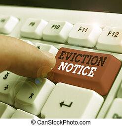 permesso, showcasing, scrittura, notice., foto, property., esposizione, qualcuno, avanzamento, sfratto, nota, avviso, dovere, affari