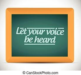 permettere, tuo, voce, è sentito, messaggio, illustrazione