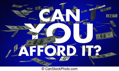 permettersi, soldi, esso, illustrazione, lattina, parole, lei, cadere, 3d