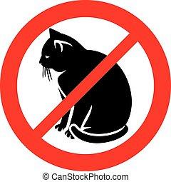 permis, chats, icône, signe, pas, (prohibition, symbol), non
