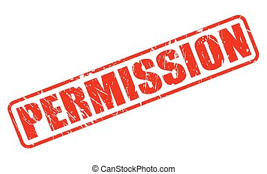 PERMISSION RED STAMP TEXT ON WHITE